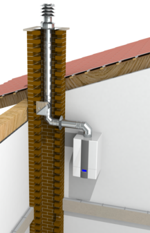 Druckdichter einwandiger Edelstahlkamin für die Schornsteinsanierung oder als Verbindungsleitung einer Abgasanlage